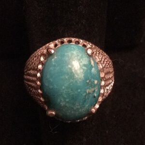 Unique Genuine Chrysocolla Stylized Ring